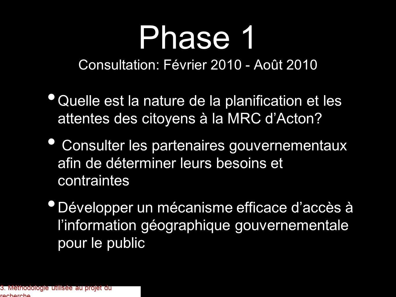 Phase 1 Consultation: Février 2010 - Août 2010 Quelle est la nature de la planification et les attentes des citoyens à la MRC dActon? Consulter les pa