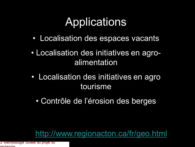 http://www.regionacton.ca/fr/geo.html Applications Localisation des espaces vacants Localisation des initiatives en agro- alimentation Localisation de