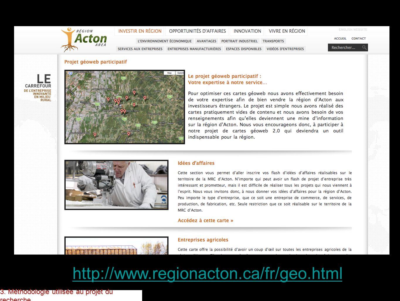 3. Méthodologie utilisée au projet du recherche http://www.regionacton.ca/fr/geo.html