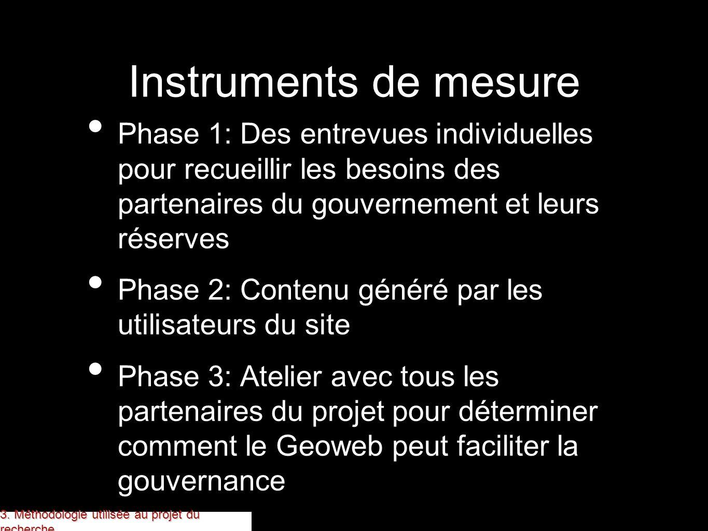 Instruments de mesure Phase 1: Des entrevues individuelles pour recueillir les besoins des partenaires du gouvernement et leurs réserves Phase 2: Cont
