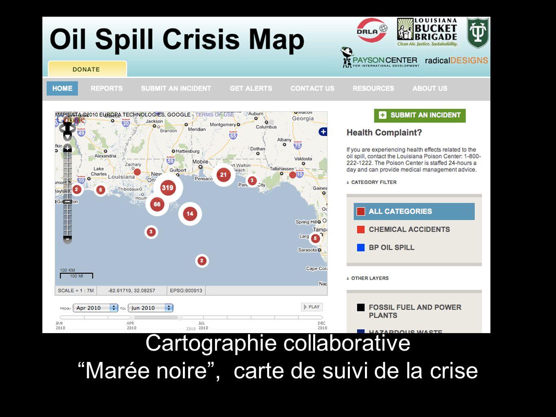 Cartographie collaborative Marée noire, carte de suivi de la crise