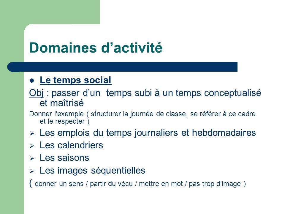 Domaines dactivité Le temps social Obj : passer dun temps subi à un temps conceptualisé et maîtrisé Donner lexemple ( structurer la journée de classe,
