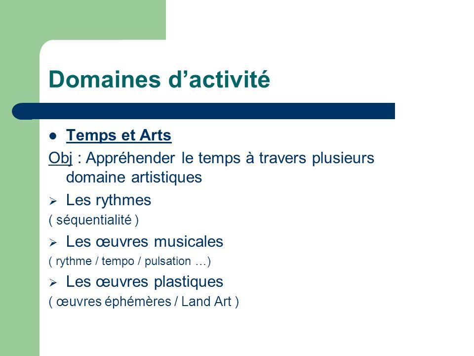 Domaines dactivité Temps et Arts Obj : Appréhender le temps à travers plusieurs domaine artistiques Les rythmes ( séquentialité ) Les œuvres musicales