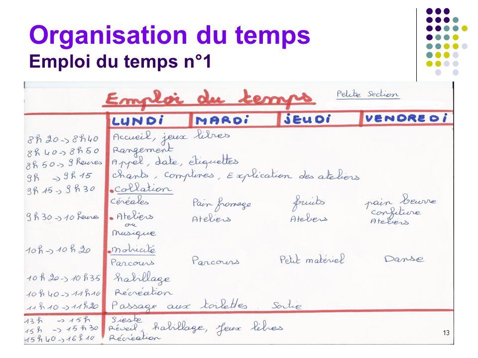 13 Organisation du temps Emploi du temps n°1 13