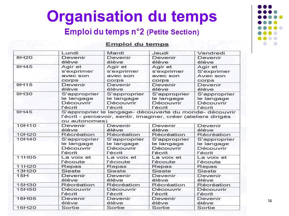 14 Organisation du temps Emploi du temps n°2 (Petite Section)