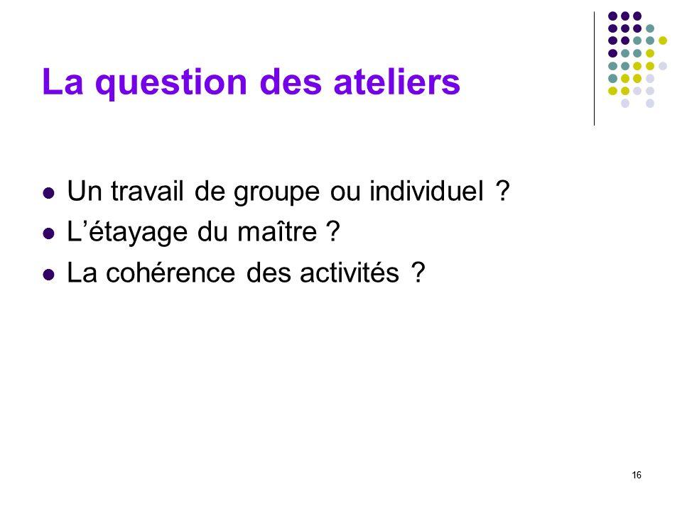 16 La question des ateliers Un travail de groupe ou individuel ? Létayage du maître ? La cohérence des activités ? 16