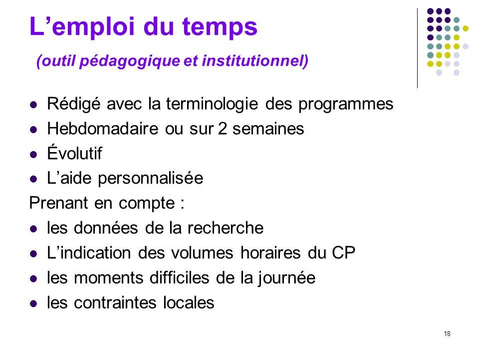 18 Lemploi du temps (outil pédagogique et institutionnel) Rédigé avec la terminologie des programmes Hebdomadaire ou sur 2 semaines Évolutif Laide per