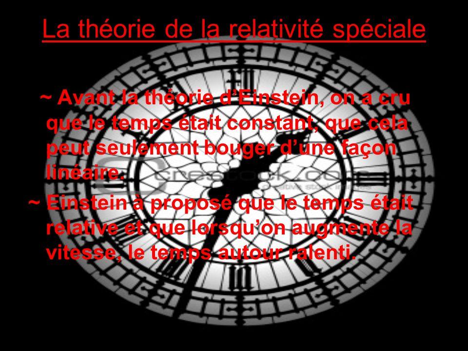 La théorie de la relativité spéciale ~ Avant la théorie dEinstein, on a cru que le temps était constant, que cela peut seulement bouger dune façon linéaire.
