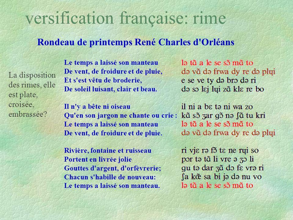 Rondeau de printemps René Charles d'Orléans Il est des parfums frais comme des chairs d´enfants, Doux comme les hautbois, verts comme les prairies, -