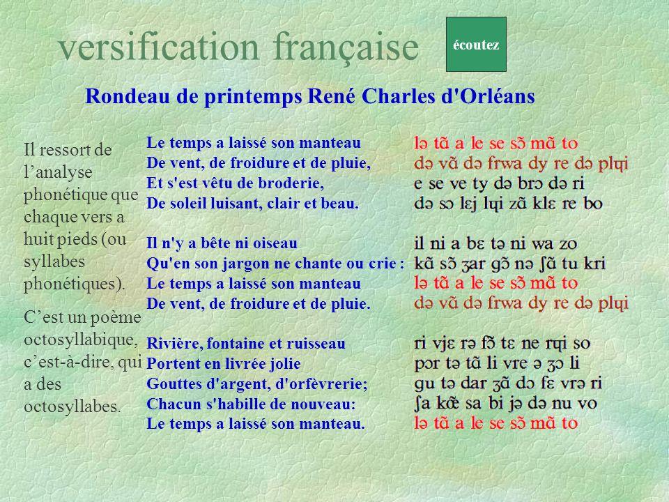 versification française Rondeau de printemps René Charles d'Orléans Le temps a laissé son manteau De vent, de froidure et de pluie, Et s'est vêtu de b