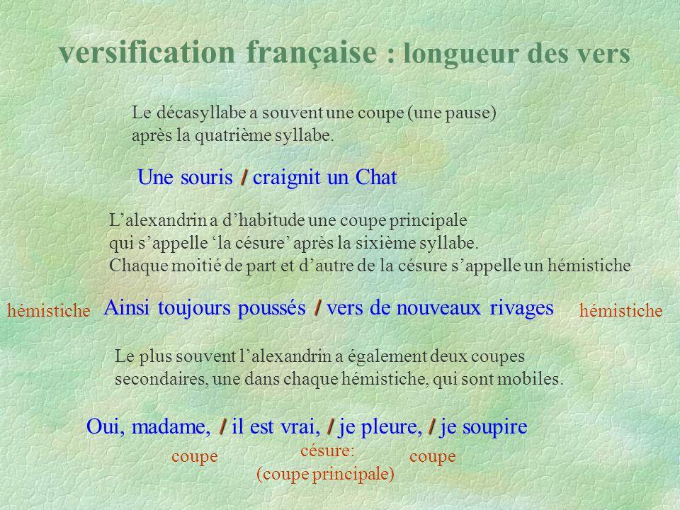 versification française : longueur des vers / Une souris / craignit un Chat / Ainsi toujours poussés / vers de nouveaux rivages Le décasyllabe a souvent une coupe (une pause) après la quatrième syllabe.