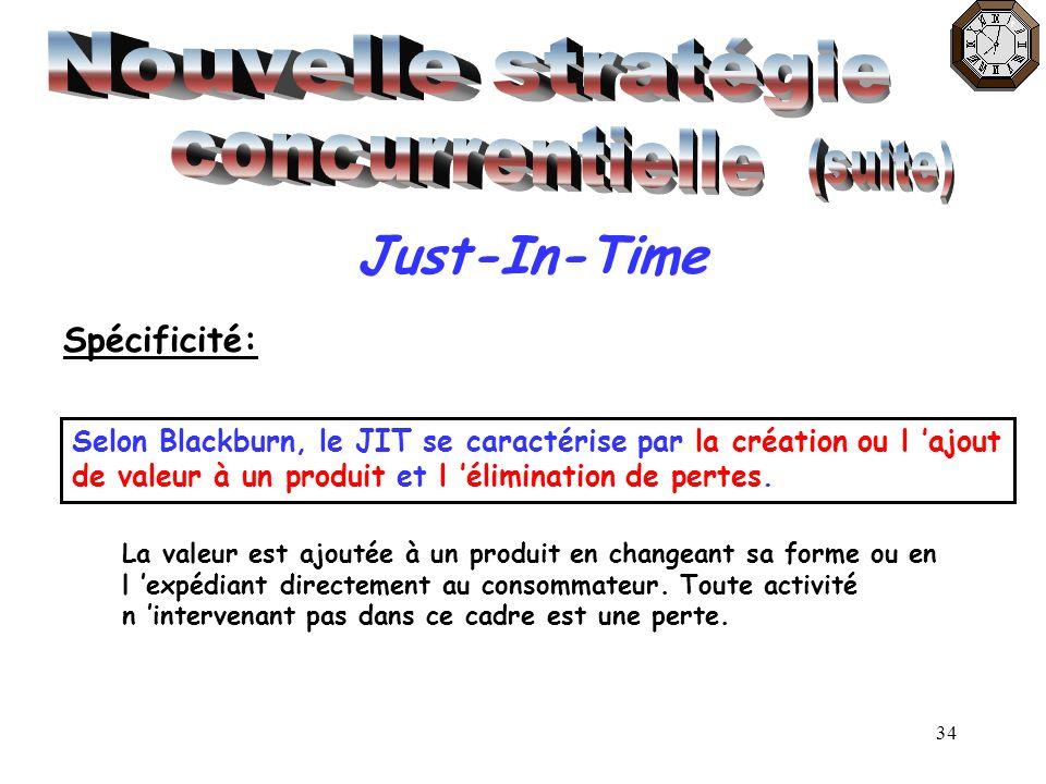 34 Just-In-Time Spécificité: Selon Blackburn, le JIT se caractérise par la création ou l ajout de valeur à un produit et l élimination de pertes. La v