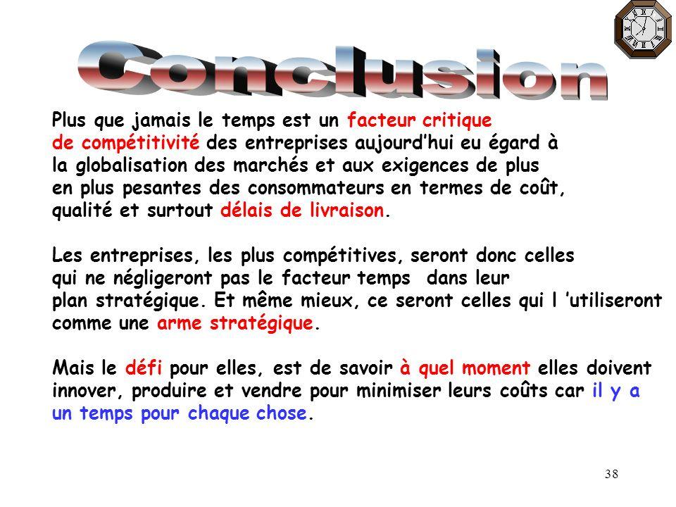 38 Plus que jamais le temps est un facteur critique de compétitivité des entreprises aujourdhui eu égard à la globalisation des marchés et aux exigenc