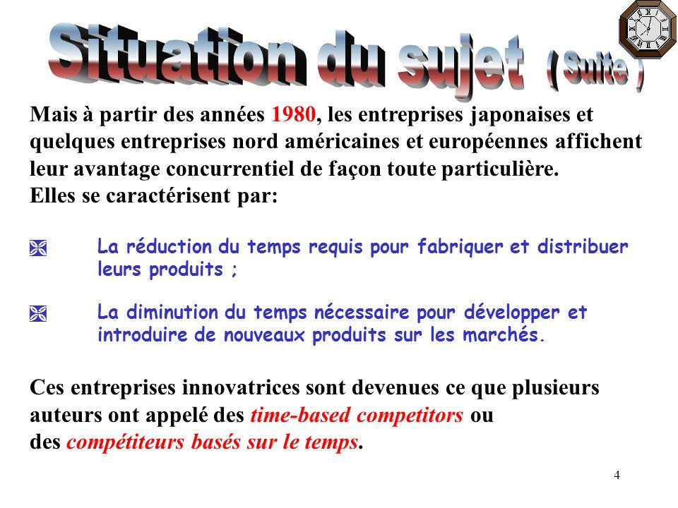 15 Pour certains auteurs, quoique le défi d innover repose sur de nouvelles idées, le temps est au cœur du succès d une innovation quelconque parce que lexécution juste à temps dune nouvelle idée est très déterminante pour le succès de linnovation.
