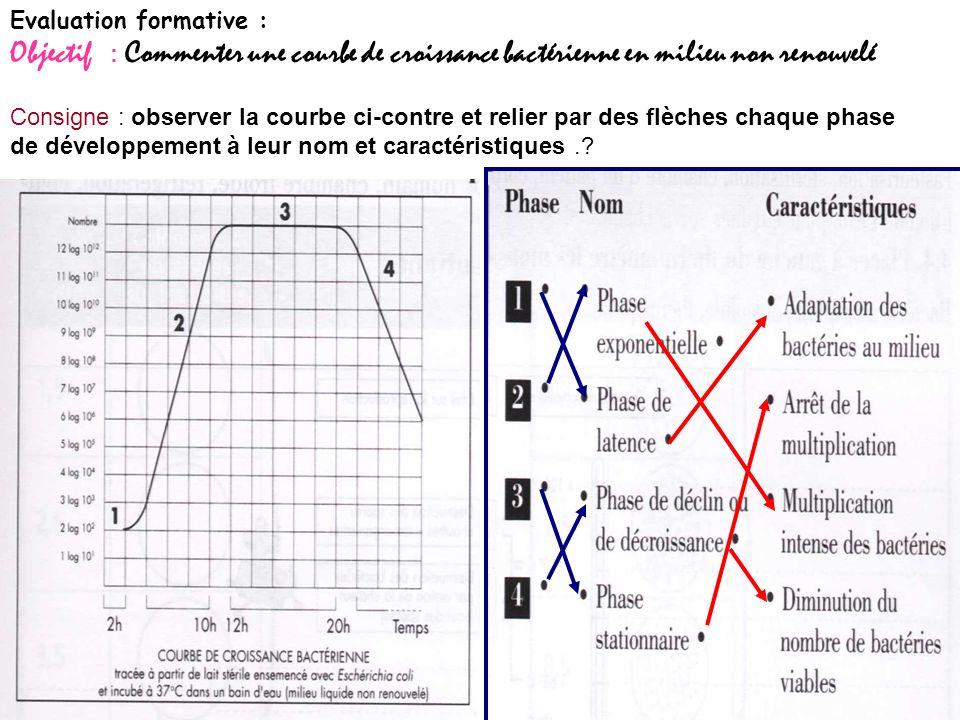 Consigne : observer la courbe ci-contre et relier par des flèches chaque phase de développement à leur nom et caractéristiques..