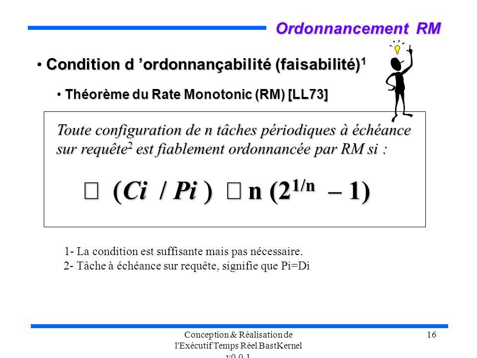 Conception & Réalisation de l'Exécutif Temps Réel BastKernel v0.0.1 16 Condition d ordonnançabilité (faisabilité) 1 Théorème du Rate Monotonic (RM) [L