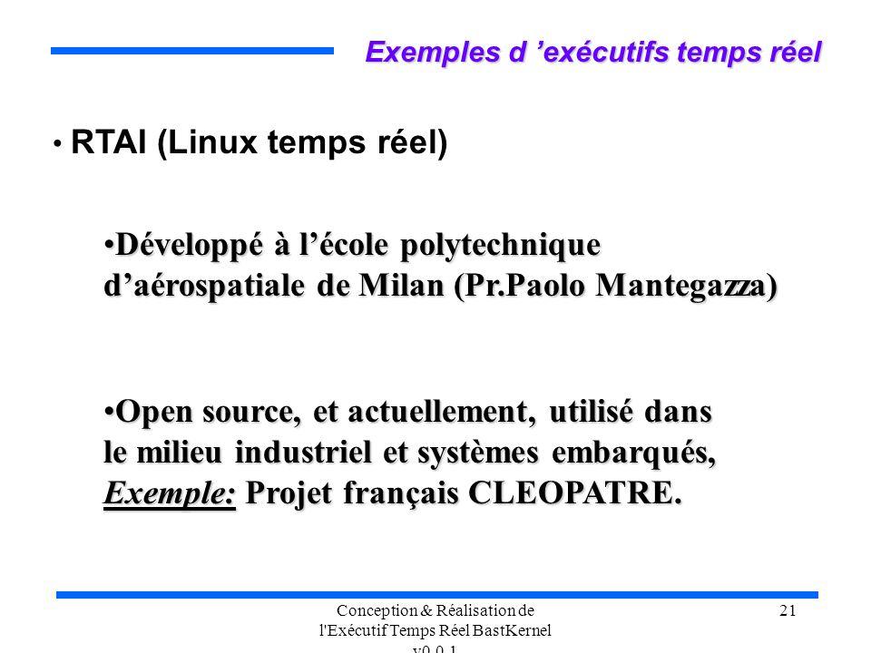 Conception & Réalisation de l'Exécutif Temps Réel BastKernel v0.0.1 21 RTAI (Linux temps réel) Exemples d exécutifs temps réel Développé à lécole poly