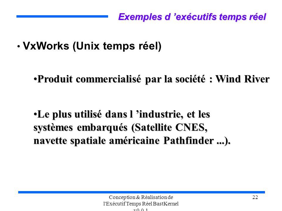 Conception & Réalisation de l'Exécutif Temps Réel BastKernel v0.0.1 22 VxWorks (Unix temps réel) Exemples d exécutifs temps réel Produit commercialisé