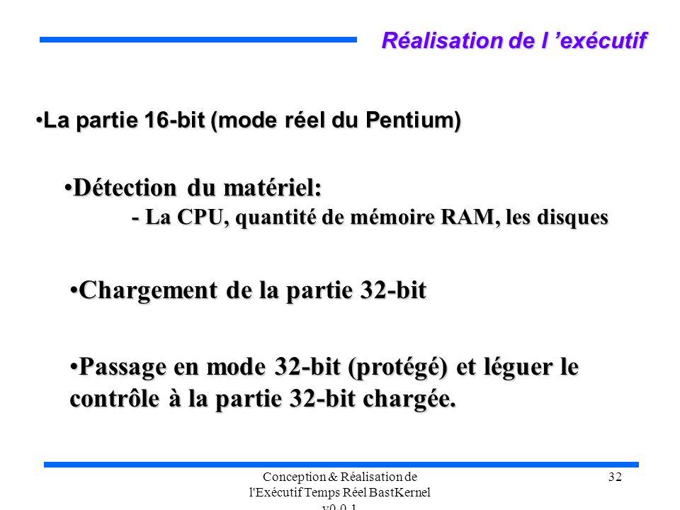 Conception & Réalisation de l'Exécutif Temps Réel BastKernel v0.0.1 32 Réalisation de l exécutif La partie 16-bit (mode réel du Pentium)La partie 16-b