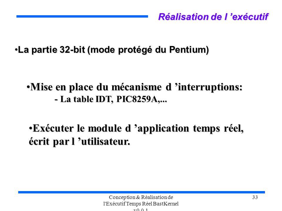 Conception & Réalisation de l'Exécutif Temps Réel BastKernel v0.0.1 33 Réalisation de l exécutif La partie 32-bit (mode protégé du Pentium)La partie 3
