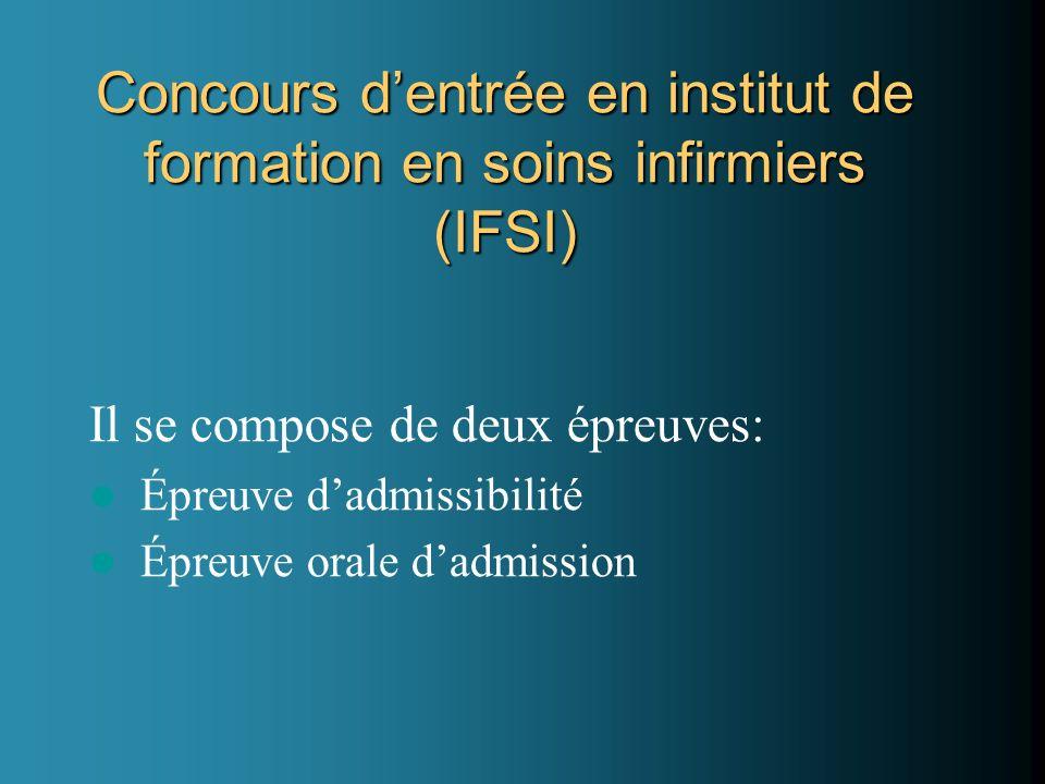 Concours dentrée en institut de formation en soins infirmiers (IFSI) Il se compose de deux épreuves: Épreuve dadmissibilité Épreuve orale dadmission