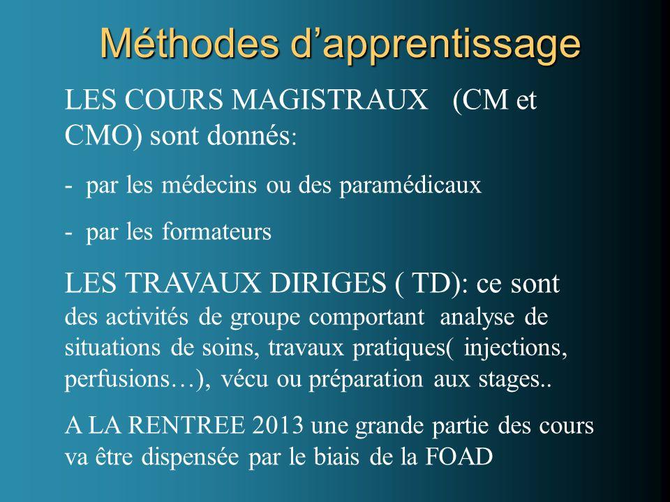 Méthodes dapprentissage LES COURS MAGISTRAUX (CM et CMO) sont donnés : - par les médecins ou des paramédicaux - par les formateurs LES TRAVAUX DIRIGES