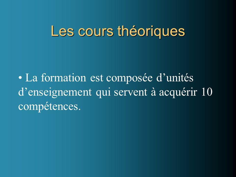 Les cours théoriques La formation est composée dunités denseignement qui servent à acquérir 10 compétences.