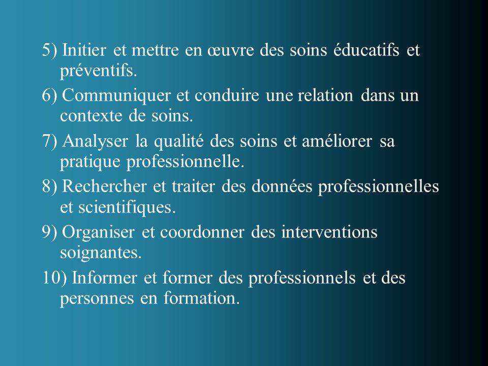 5) Initier et mettre en œuvre des soins éducatifs et préventifs. 6) Communiquer et conduire une relation dans un contexte de soins. 7) Analyser la qua