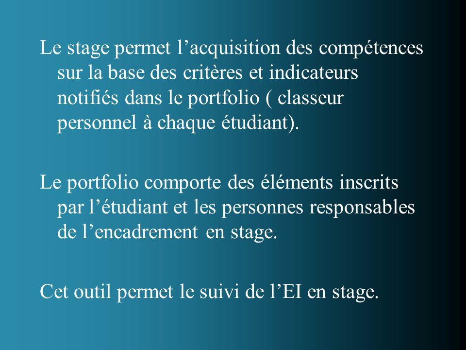 Le stage permet lacquisition des compétences sur la base des critères et indicateurs notifiés dans le portfolio ( classeur personnel à chaque étudiant).