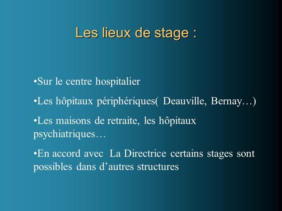 Les lieux de stage : Sur le centre hospitalier Les hôpitaux périphériques( Deauville, Bernay…) Les maisons de retraite, les hôpitaux psychiatriques… En accord avec La Directrice certains stages sont possibles dans dautres structures