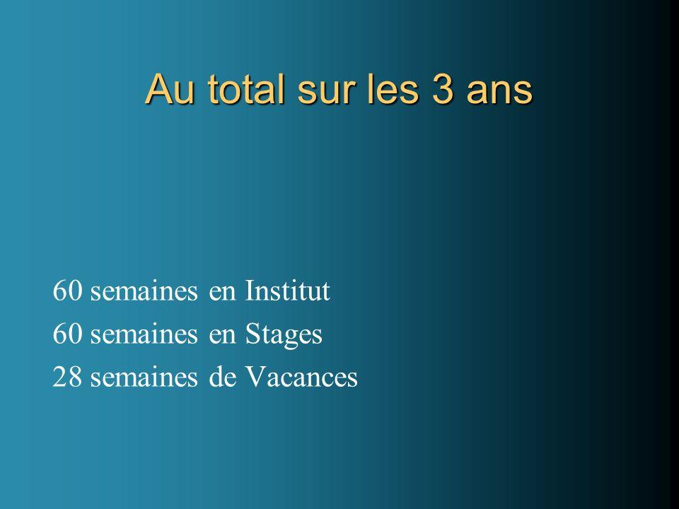 Au total sur les 3 ans 60 semaines en Institut 60 semaines en Stages 28 semaines de Vacances