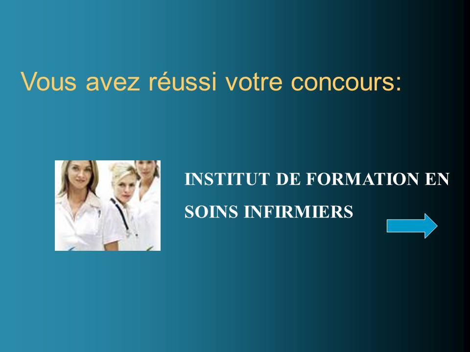 Vous avez réussi votre concours: INSTITUT DE FORMATION EN SOINS INFIRMIERS