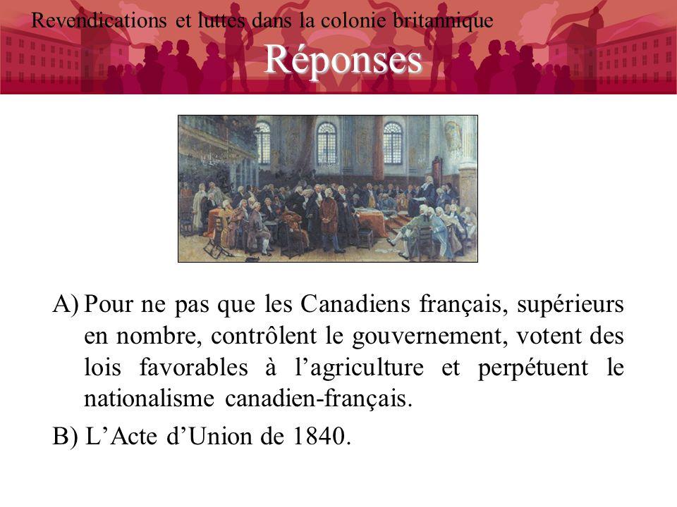 Réponses Revendications et luttes dans la colonie britannique A)Pour ne pas que les Canadiens français, supérieurs en nombre, contrôlent le gouverneme