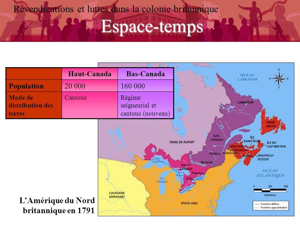 Espace-temps Revendications et luttes dans la colonie britannique LAmérique du Nord britannique en 1791 Haut-CanadaBas-Canada Population20 000160 000