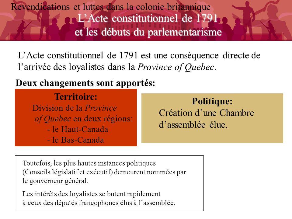 LActe constitutionnel de 1791 et les débuts du parlementarisme Revendications et luttes dans la colonie britannique LActe constitutionnel de 1791 est