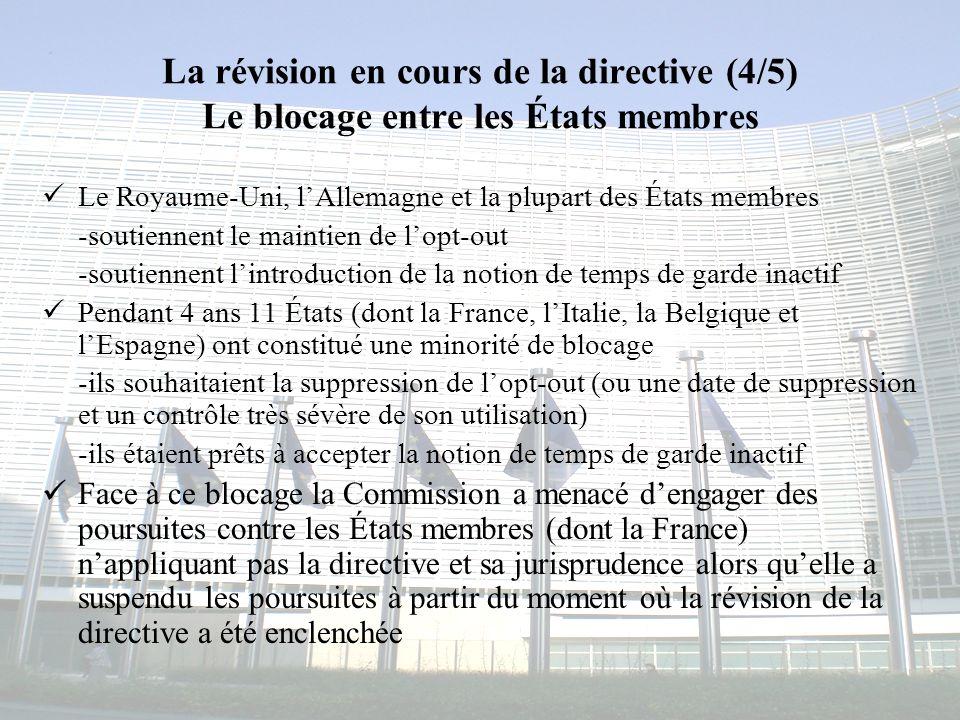 Congrès MAPAR-6 juin 200812 La révision en cours de la directive (4/5) Le blocage entre les États membres Le Royaume-Uni, lAllemagne et la plupart des
