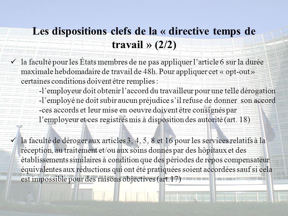 Congrès MAPAR-6 juin 20084 Les dispositions clefs de la « directive temps de travail » (2/2) la faculté pour les États membres de ne pas appliquer lar