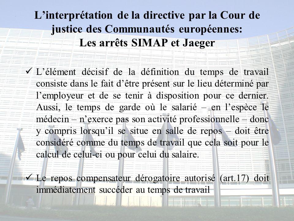 Congrès MAPAR-6 juin 20085 Linterprétation de la directive par la Cour de justice des Communautés européennes: Les arrêts SIMAP et Jaeger Lélément déc