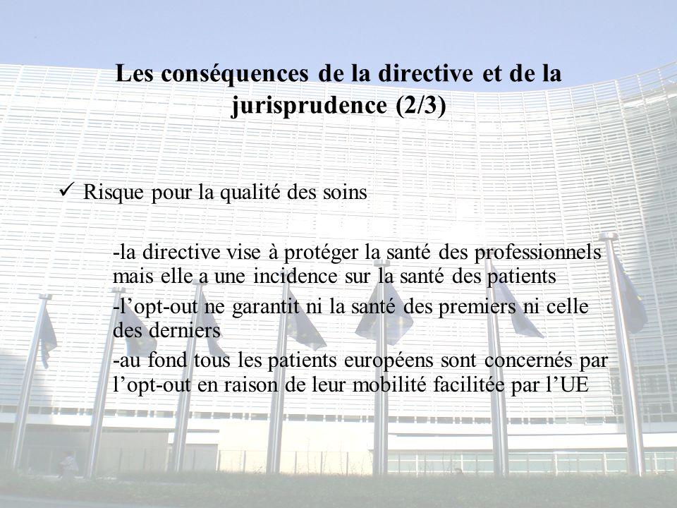 Congrès MAPAR-6 juin 20087 Les conséquences de la directive et de la jurisprudence (2/3) Risque pour la qualité des soins -la directive vise à protége