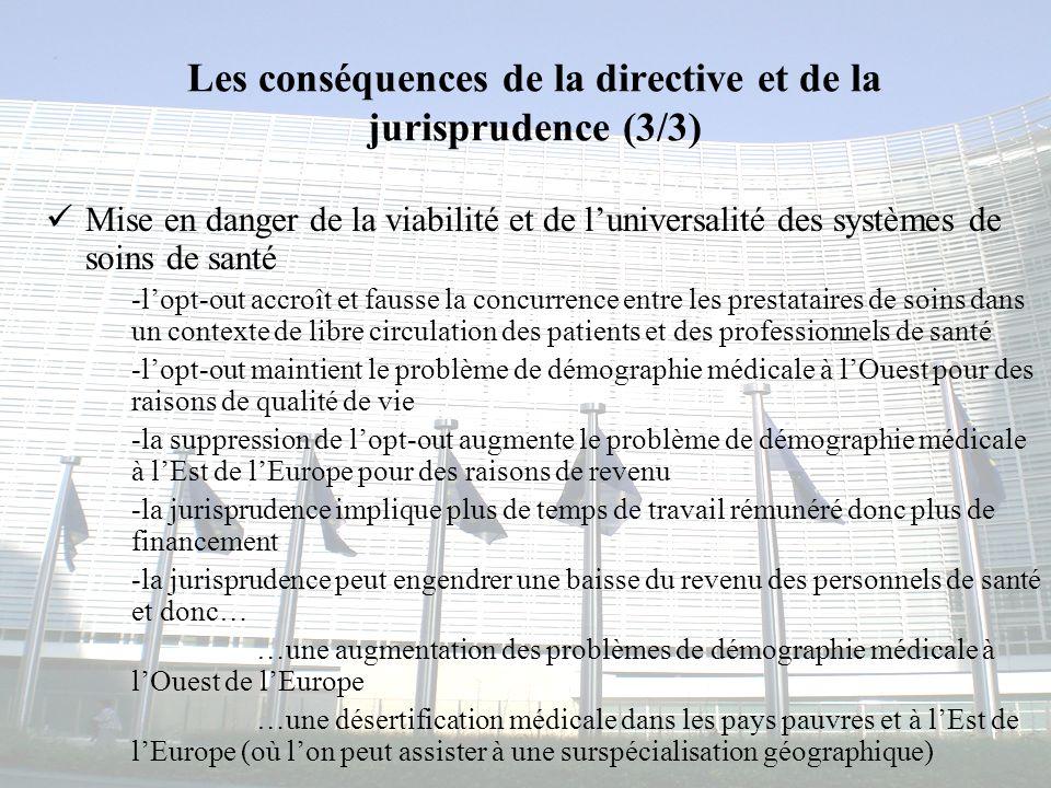 Congrès MAPAR-6 juin 20088 Les conséquences de la directive et de la jurisprudence (3/3) Mise en danger de la viabilité et de luniversalité des systèm