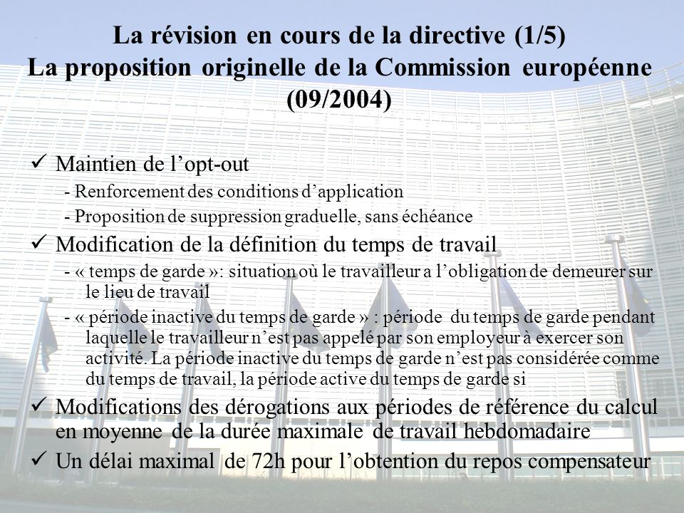 Congrès MAPAR-6 juin 200810 La révision en cours de la directive (2/5) La position du Parlement européen (05/2005) Abrogation de lopt-out dans un délai de trois ans après lentrée en vigueur de la nouvelle directive Maintien de la jurisprudence de la CJCE - toute la période du temps de garde y compris la période inactive, est considérée comme temps de travail - possibilité de dérogations Modifications des dérogations aux périodes de référence du calcul en moyenne de la durée maximale de travail hebdomadaire - possibilité de calcul sur un an