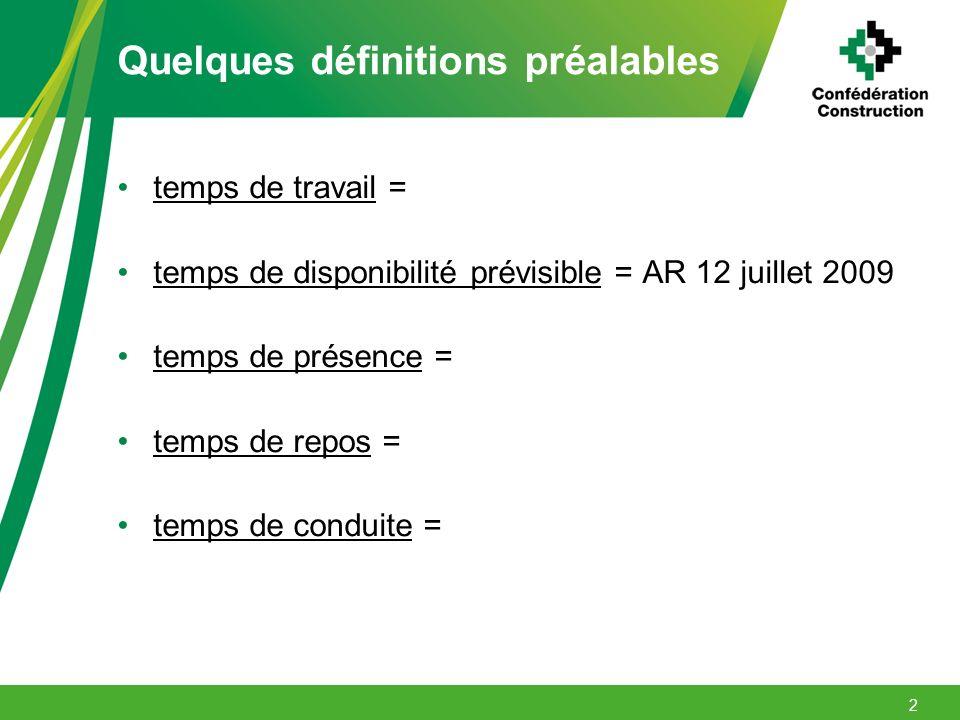 Quelques définitions préalables temps de travail = temps de disponibilité prévisible = AR 12 juillet 2009 temps de présence = temps de repos = temps d