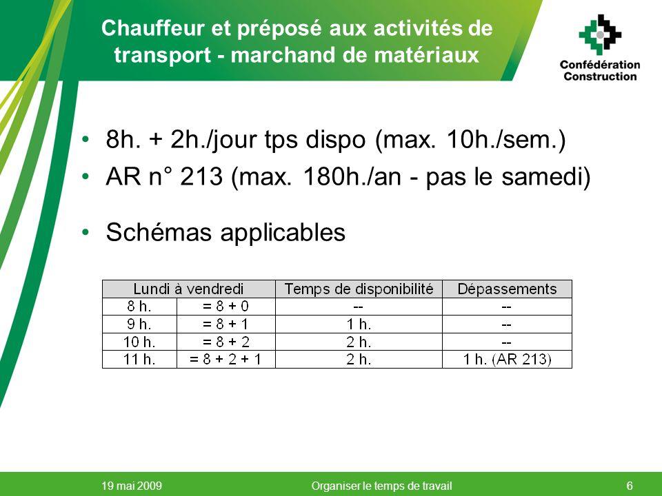 Chauffeur et préposé aux activités de transport - marchand de matériaux 8h. + 2h./jour tps dispo (max. 10h./sem.) AR n° 213 (max. 180h./an - pas le sa