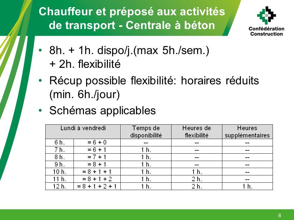 Chauffeur et préposé aux activités de transport - Centrale à béton 8h. + 1h. dispo/j.(max 5h./sem.) + 2h. flexibilité Récup possible flexibilité: hora
