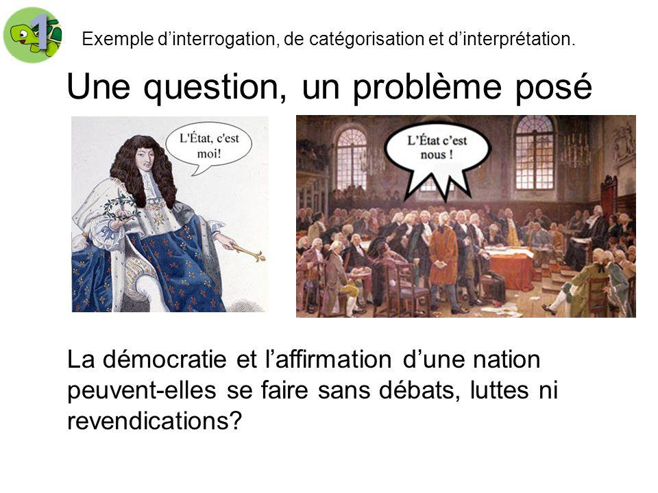 Une question, un problème posé Exemple dinterrogation, de catégorisation et dinterprétation. La démocratie et laffirmation dune nation peuvent-elles s