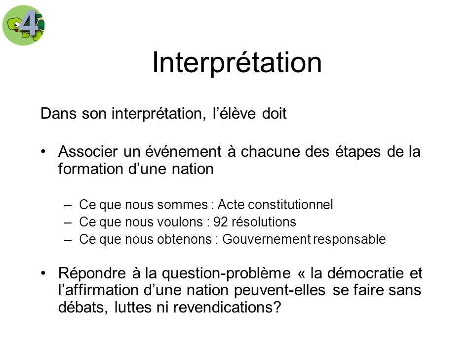 Interprétation Dans son interprétation, lélève doit Associer un événement à chacune des étapes de la formation dune nation –Ce que nous sommes : Acte