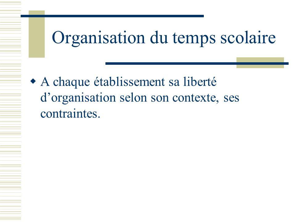Organisation du temps scolaire A chaque établissement sa liberté dorganisation selon son contexte, ses contraintes.