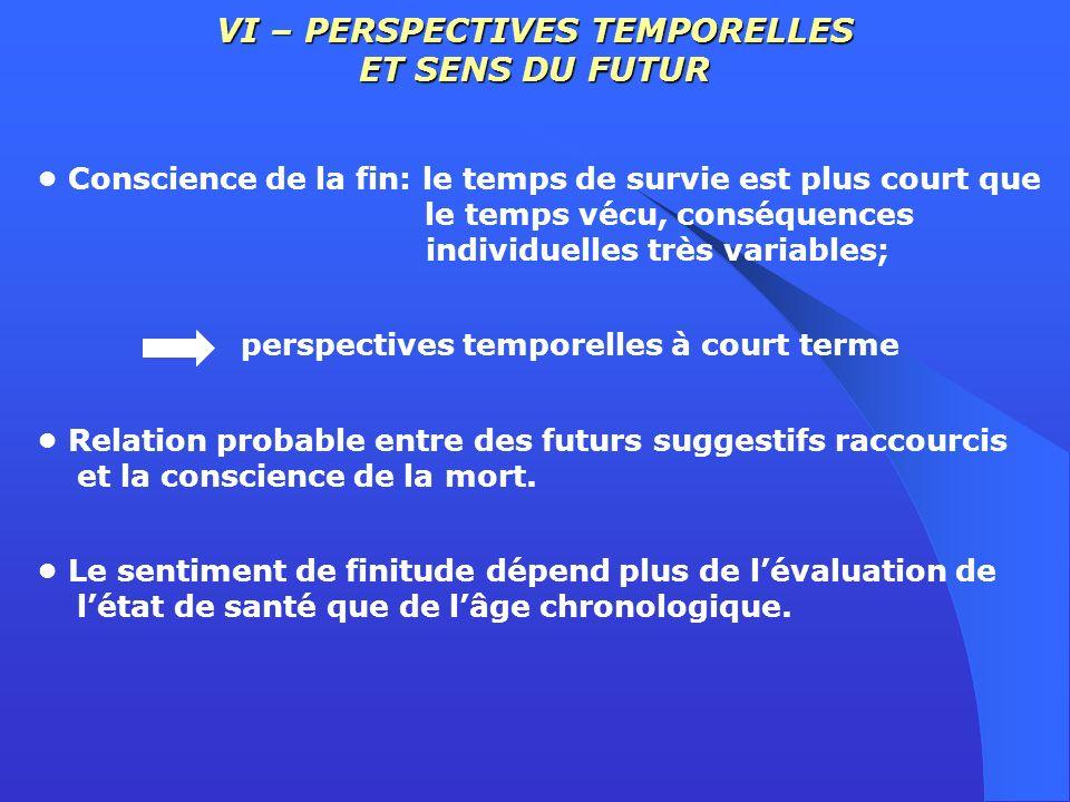 VI – PERSPECTIVES TEMPORELLES ET SENS DU FUTUR Conscience de la fin: le temps de survie est plus court que le temps vécu, conséquences individuelles t