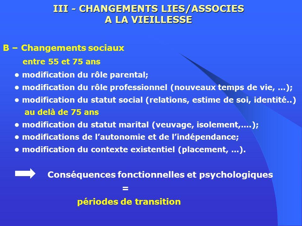 III - CHANGEMENTS LIES/ASSOCIES A LA VIEILLESSE B – Changements sociaux entre 55 et 75 ans modification du rôle parental; modification du rôle profess