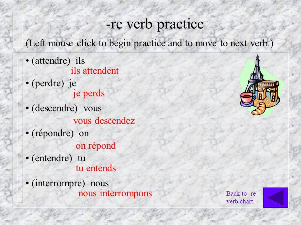 -re verb practice (attendre) ils ils attendent (perdre) je je perds (descendre) vous vous descendez (répondre) on on répond (entendre) tu tu entends (interrompre) nous nous interrompons (Left mouse click to begin practice and to move to next verb.) Back to -re verb chart.